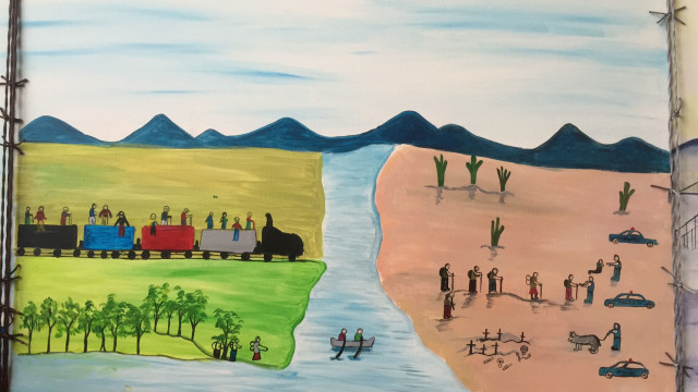 """Listening to the Voices of Unaccompanied Minors"" (mural created by three LSC youth clients)"